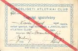 Rákosligeti Atlétikai Klub tagsági igazolvány