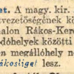 1903. 207. sz. Rákosliget mh. új neve