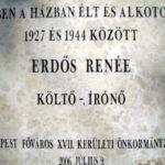 Rákoshegy, Erdős Renée emléktábla Báthori utca 31.